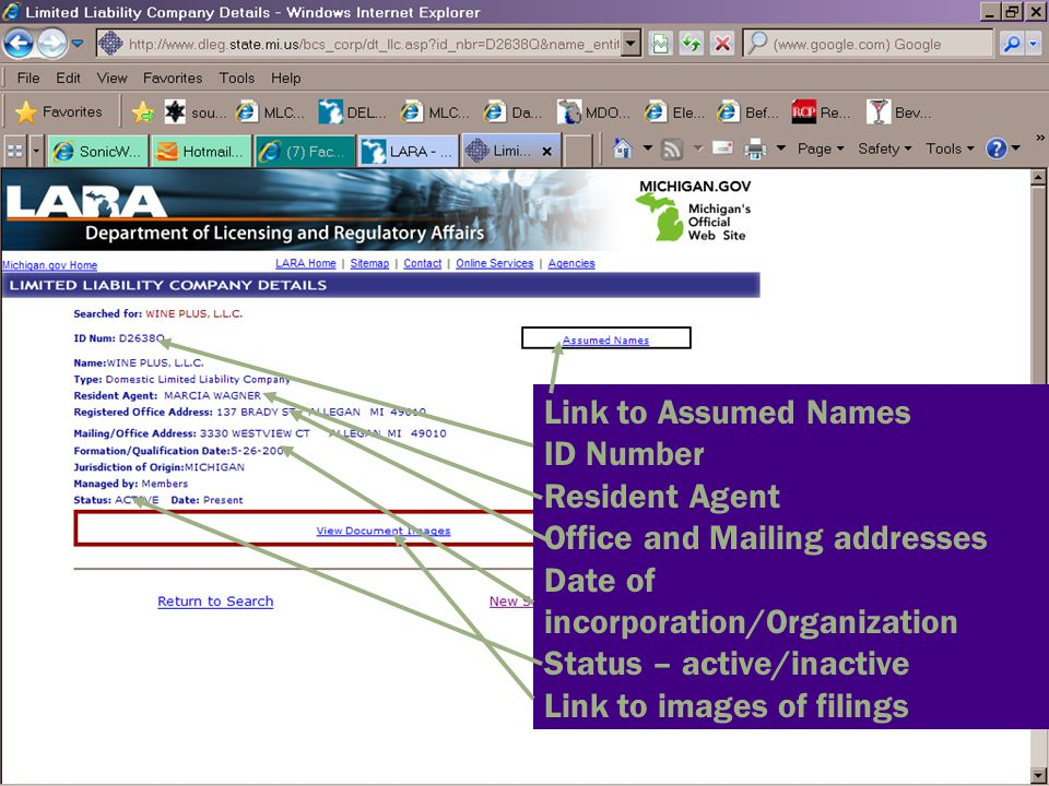 Link to Assumed Names ID Number. Resident Agent. Office and Mailing addresses. Date of incorporation/Organization.