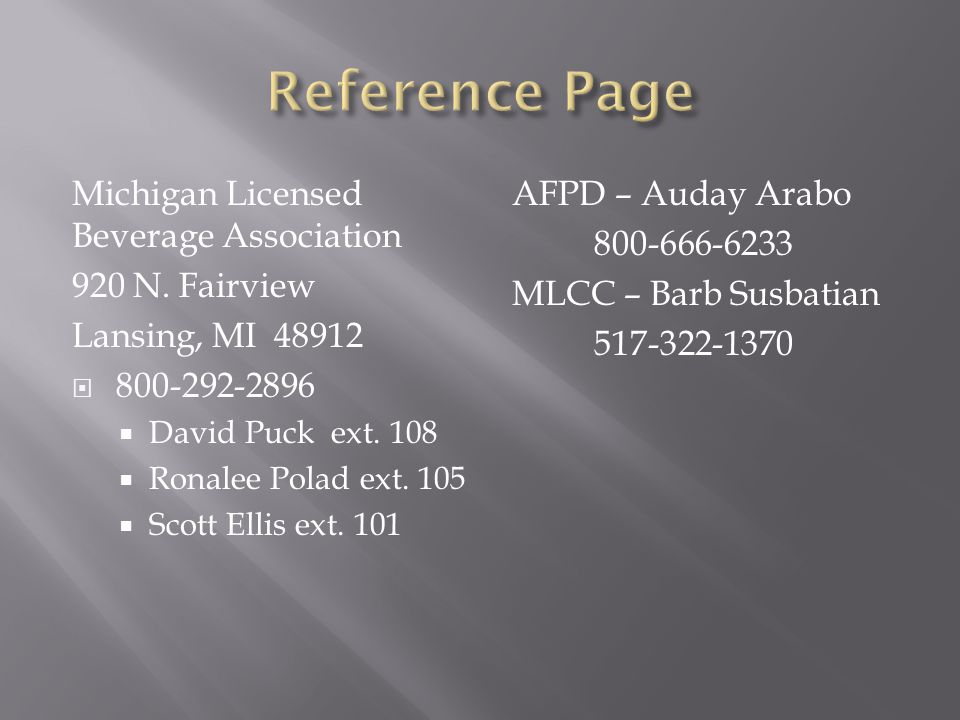 Reference Page Michigan Licensed Beverage Association 920 N. Fairview