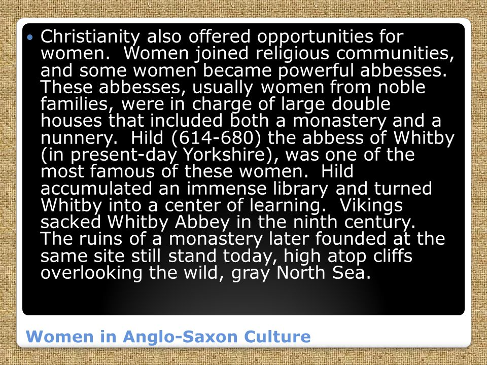 Women in Anglo-Saxon Culture