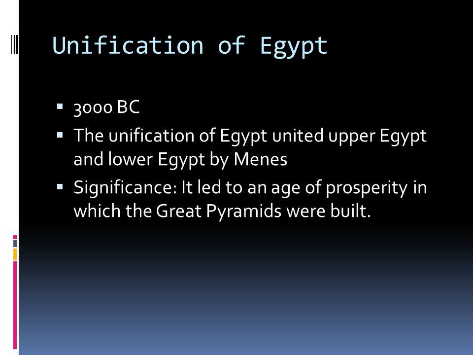 Unification of Egypt 3000 BC