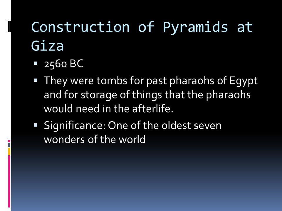 Construction of Pyramids at Giza