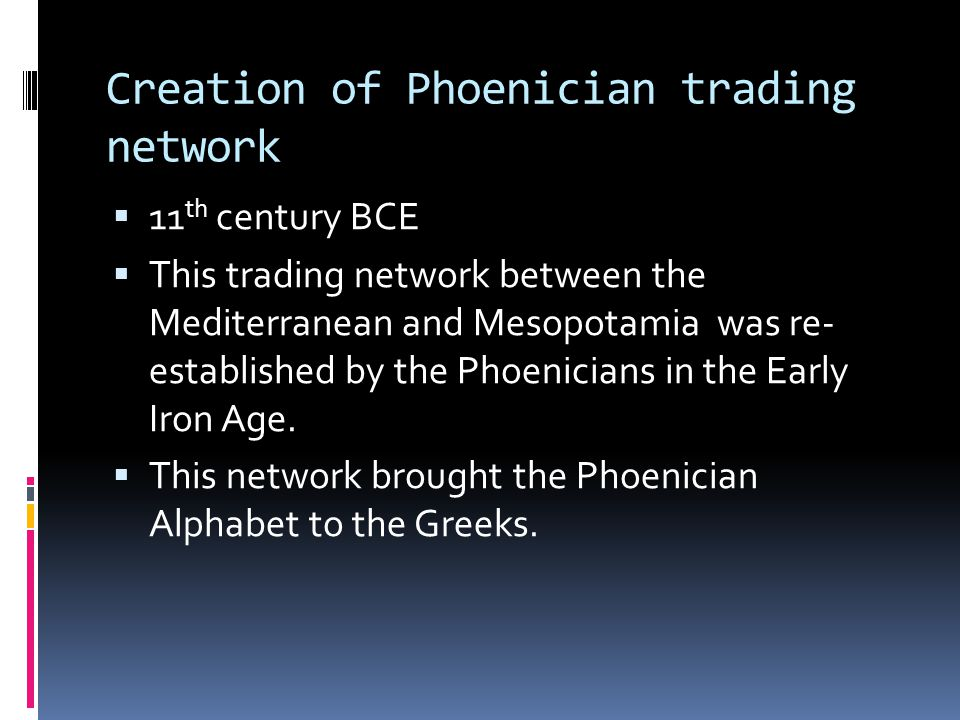 Creation of Phoenician trading network