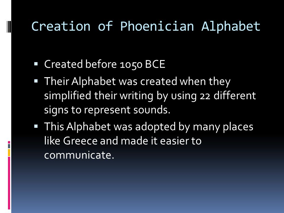 Creation of Phoenician Alphabet