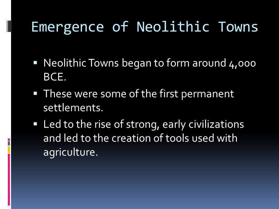 Emergence of Neolithic Towns