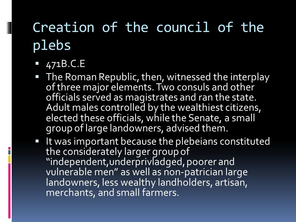 Creation of the council of the plebs