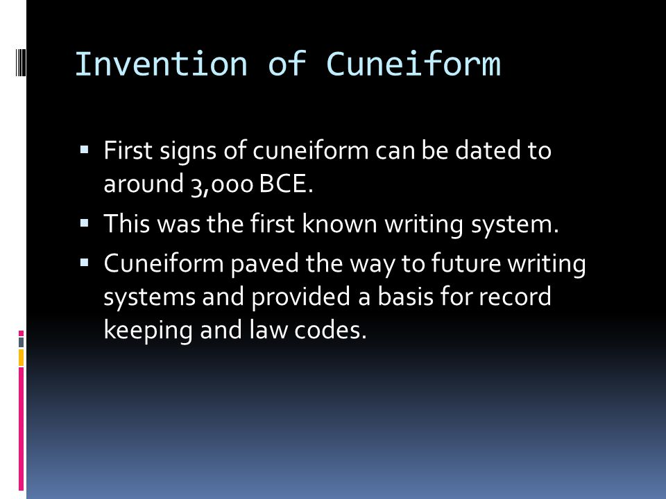 Invention of Cuneiform