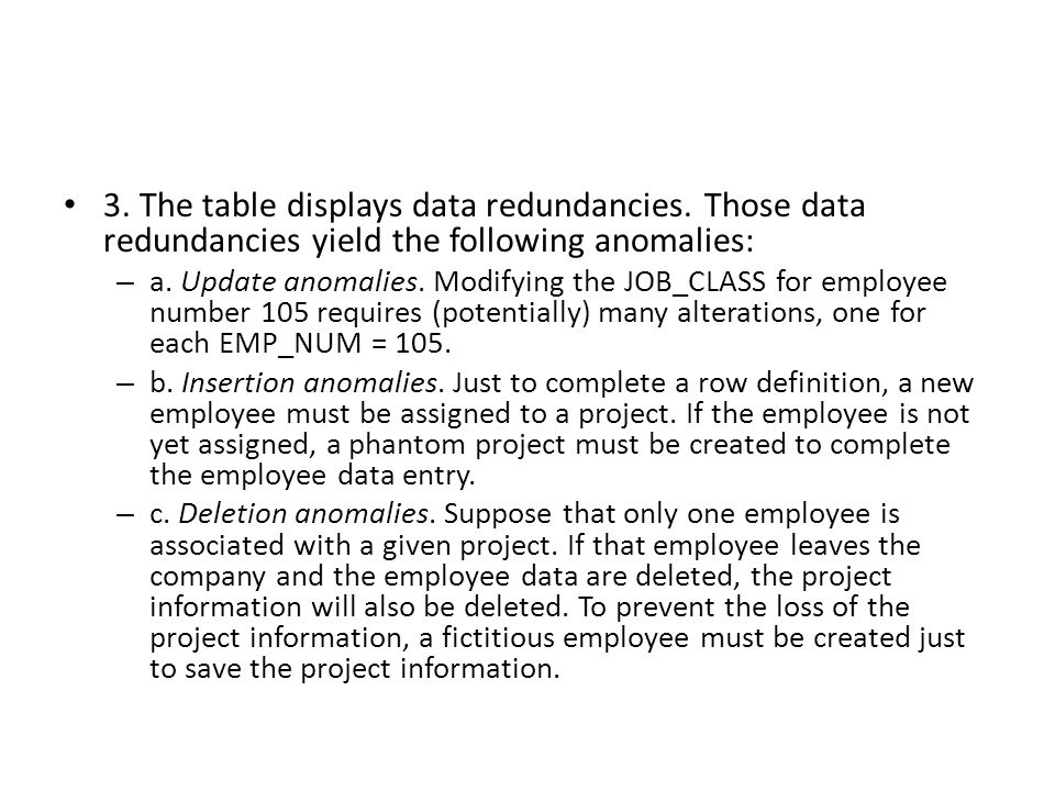 3. The table displays data redundancies