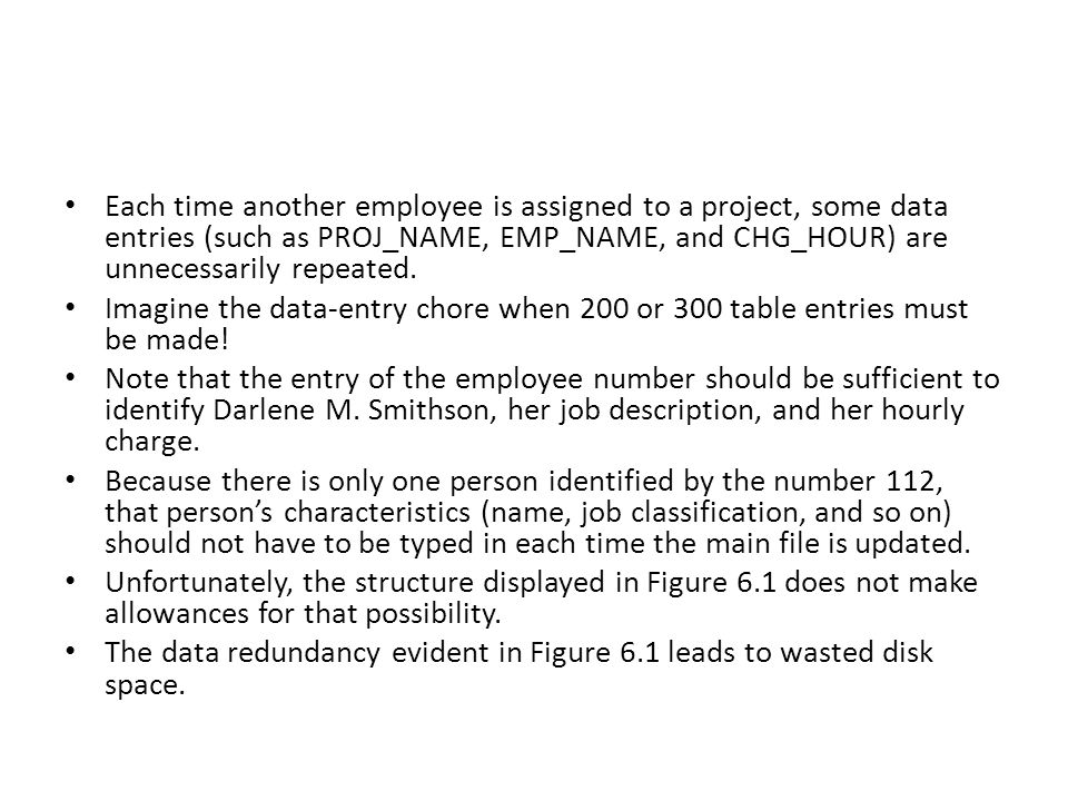 Each time another employee is assigned to a project, some data entries (such as PROJ_NAME, EMP_NAME, and CHG_HOUR) are unnecessarily repeated.
