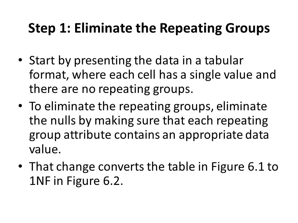 Step 1: Eliminate the Repeating Groups