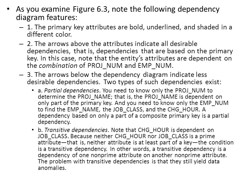 As you examine Figure 6.3, note the following dependency diagram features: