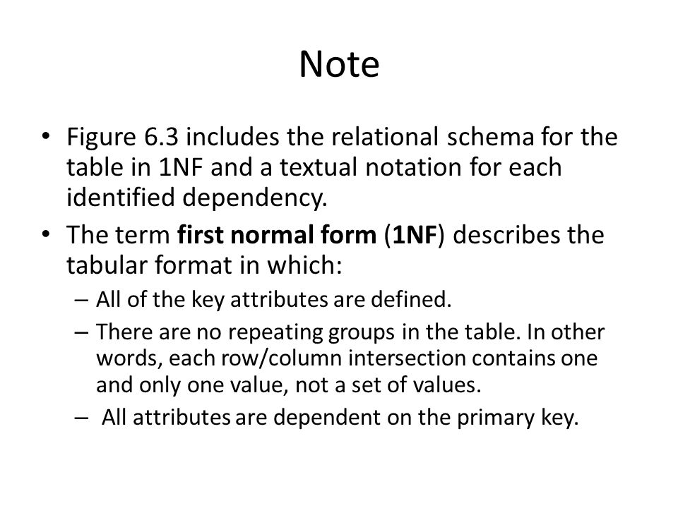 Note Figure 6.3 includes the relational schema for the table in 1NF and a textual notation for each identified dependency.