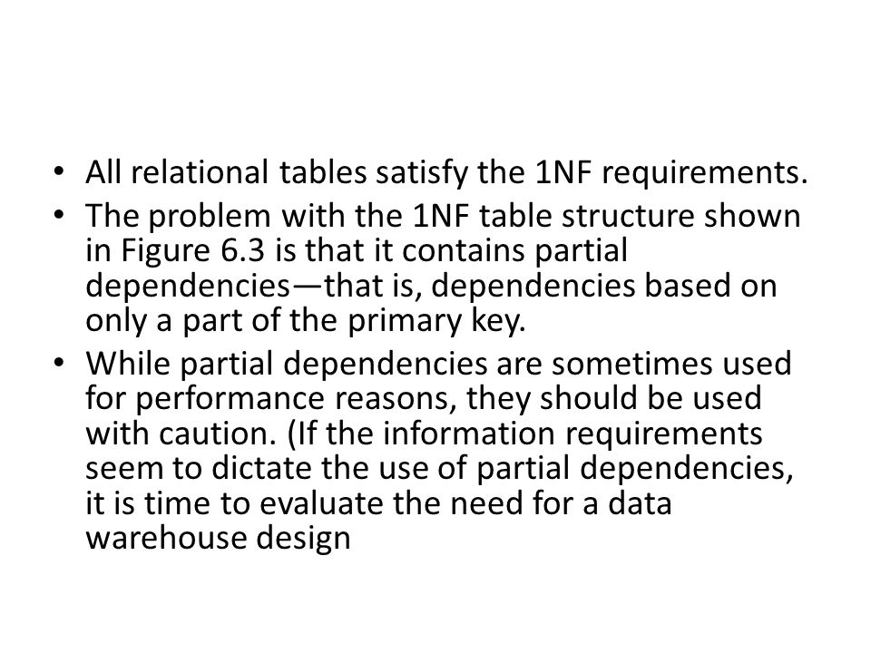 All relational tables satisfy the 1NF requirements.