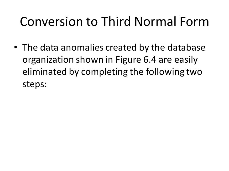Conversion to Third Normal Form