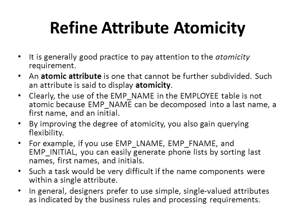 Refine Attribute Atomicity