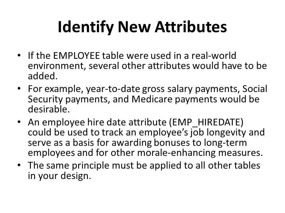 Identify New Attributes