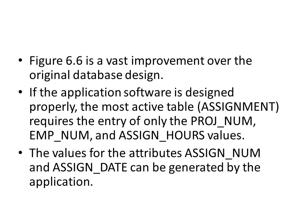 Figure 6.6 is a vast improvement over the original database design.