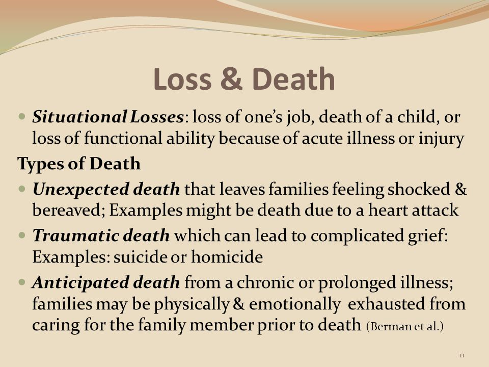 Loss & Death Situational Losses: loss of one's job, death of a child, or loss of functional ability because of acute illness or injury.