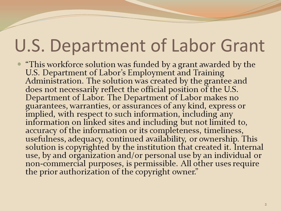 U.S. Department of Labor Grant
