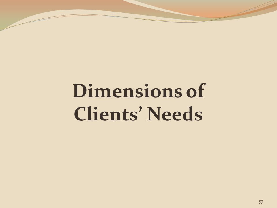 Dimensions of Clients' Needs