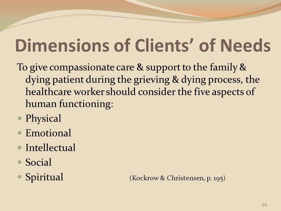 Dimensions of Clients' of Needs