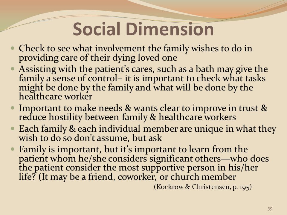 Social Dimension Check to see what involvement the family wishes to do in providing care of their dying loved one.