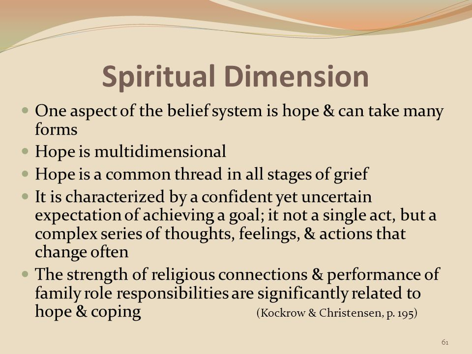 Spiritual Dimension One aspect of the belief system is hope & can take many forms. Hope is multidimensional.