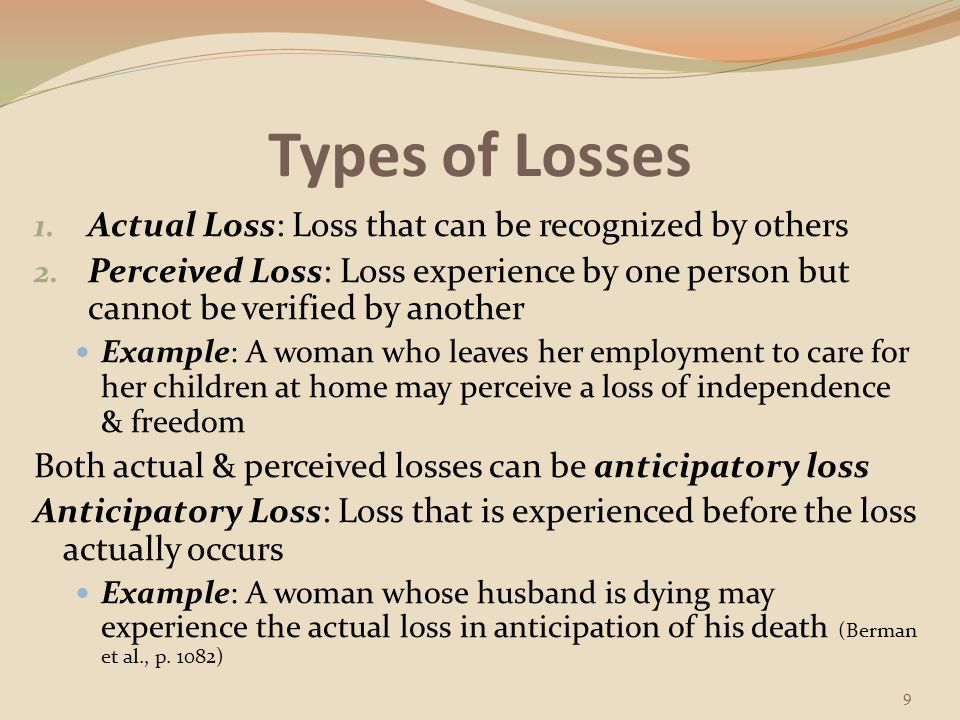 Types of Losses Actual Loss: Loss that can be recognized by others