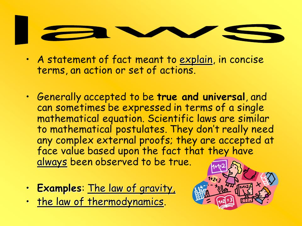 Examples: The law of gravity, the law of thermodynamics.