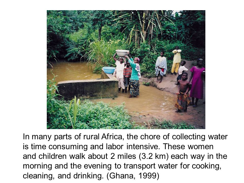 In many parts of rural Africa, the chore of collecting water is time consuming and labor intensive.