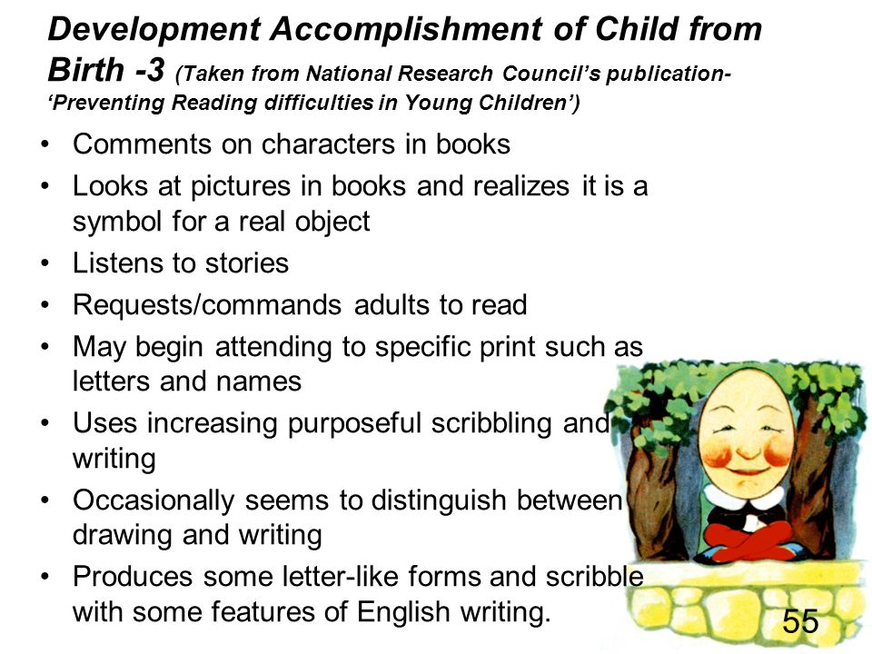 Development Accomplishment of Child from Birth -3 (Taken from National Research Council's publication- 'Preventing Reading difficulties in Young Children')