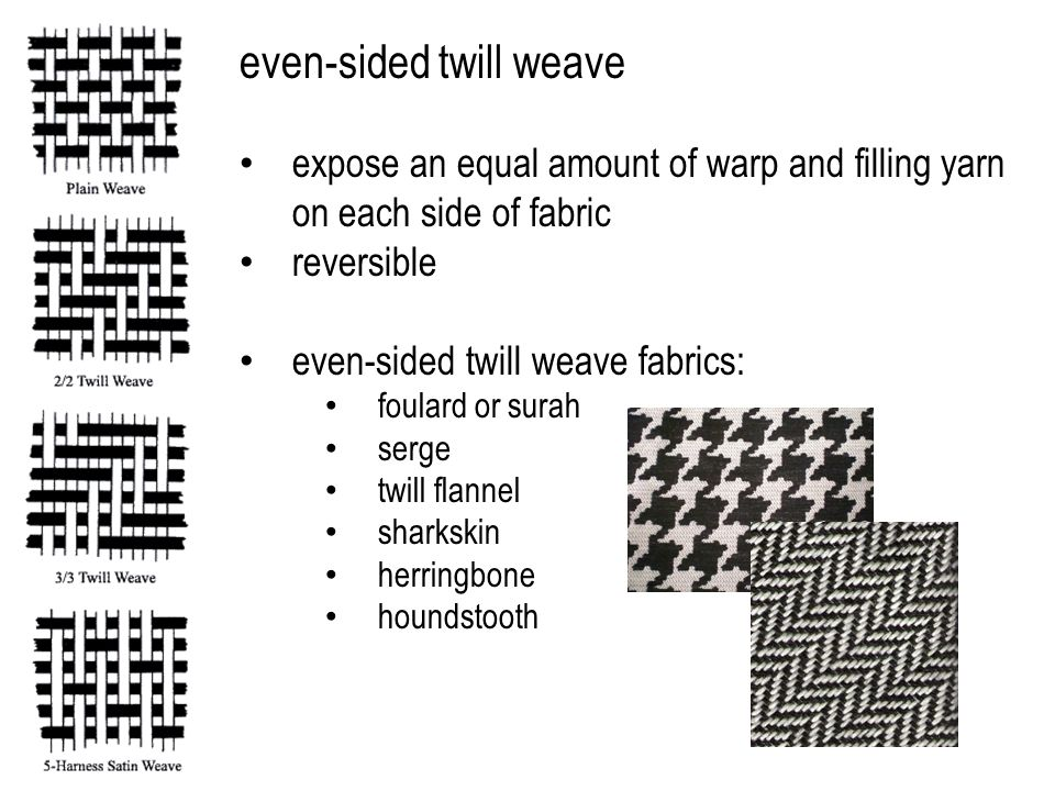 even-sided twill weave