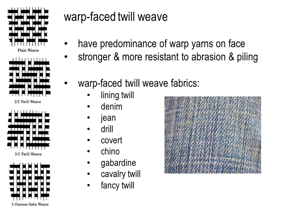 warp-faced twill weave