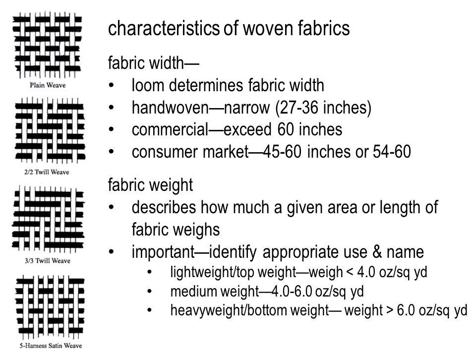 characteristics of woven fabrics