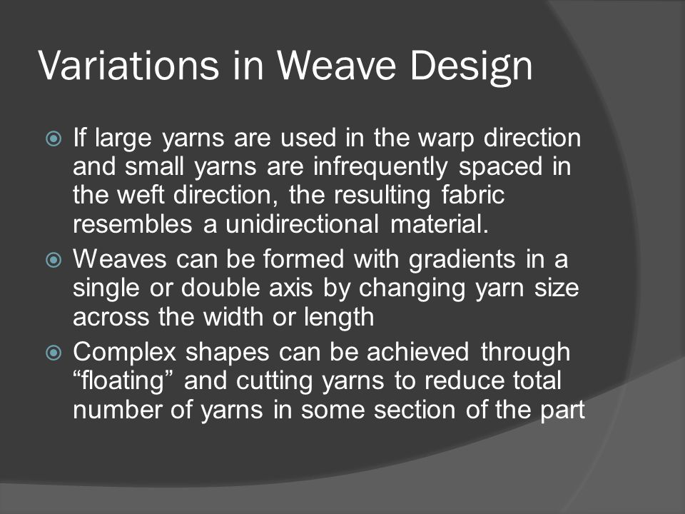 Variations in Weave Design