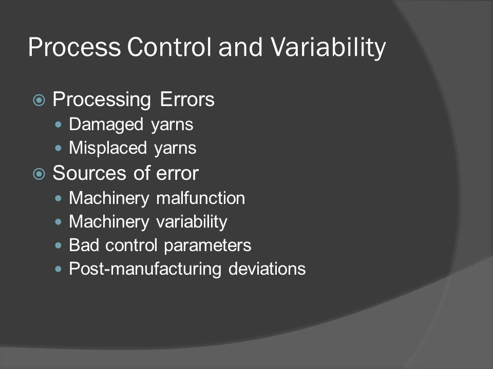 Process Control and Variability