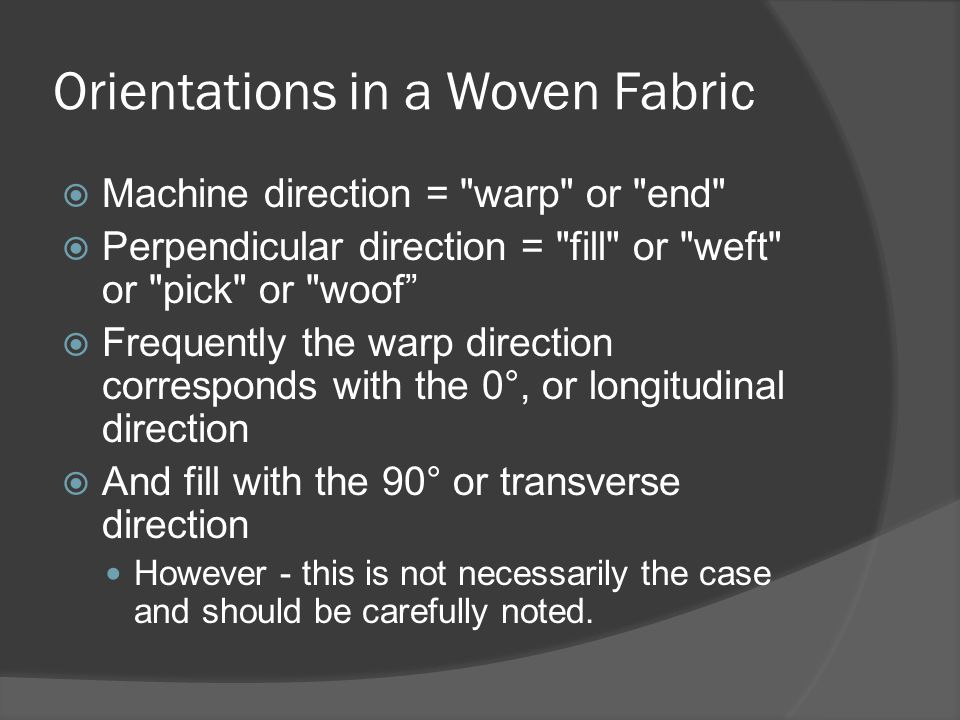 Orientations in a Woven Fabric