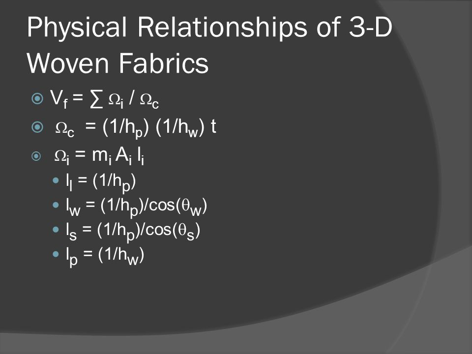 Physical Relationships of 3-D Woven Fabrics