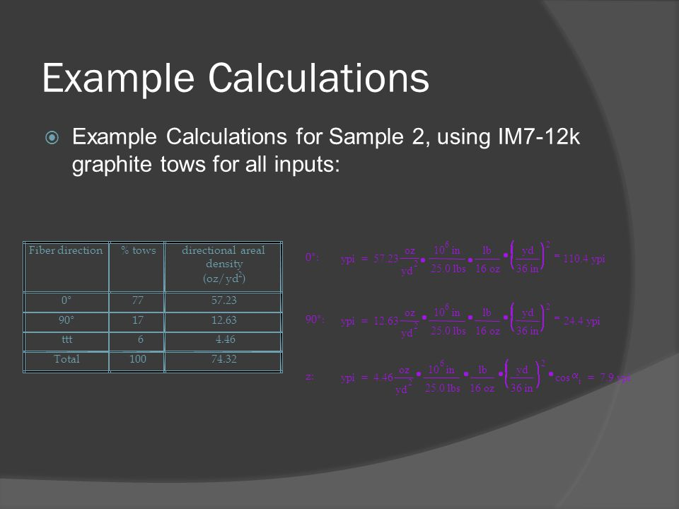 Example Calculations Example Calculations for Sample 2, using IM7-12k graphite tows for all inputs: