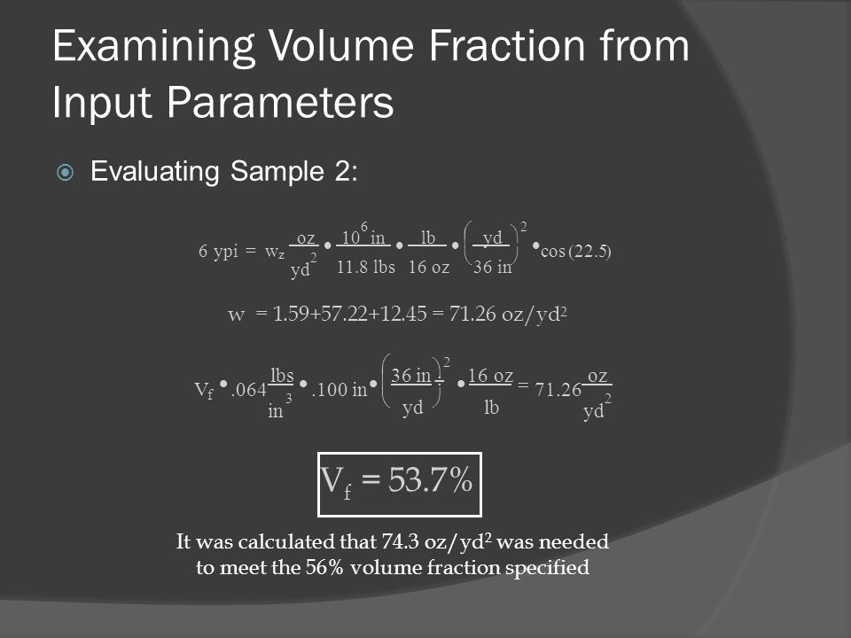 Examining Volume Fraction from Input Parameters