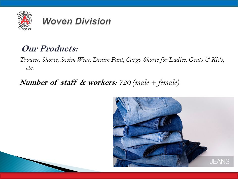 Woven Division Number of staff & workers: 720 (male + female)