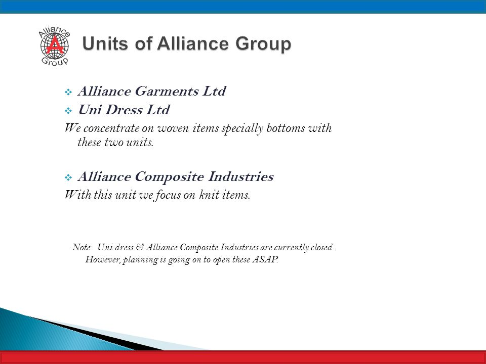 Units of Alliance Group
