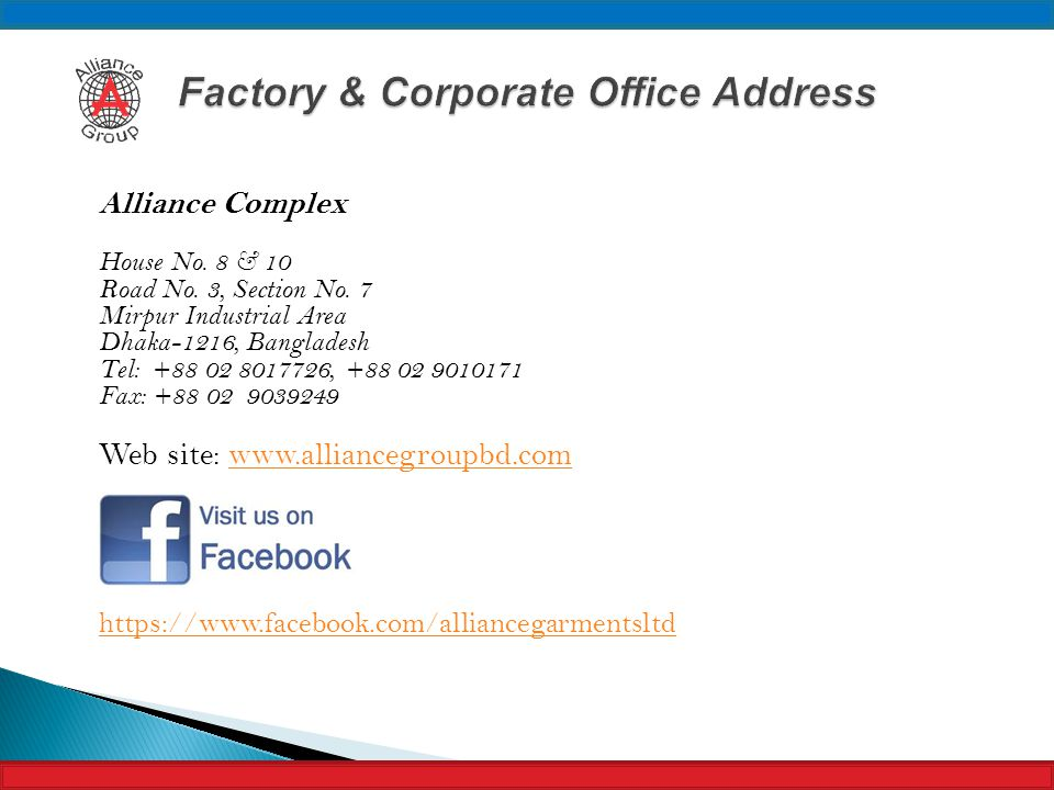Factory & Corporate Office Address