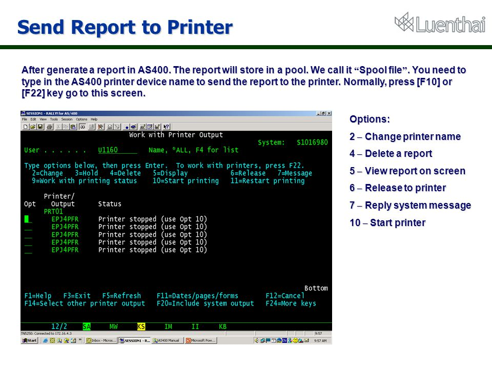 Send Report to Printer