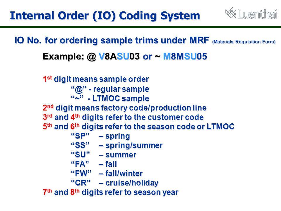 Internal Order (IO) Coding System