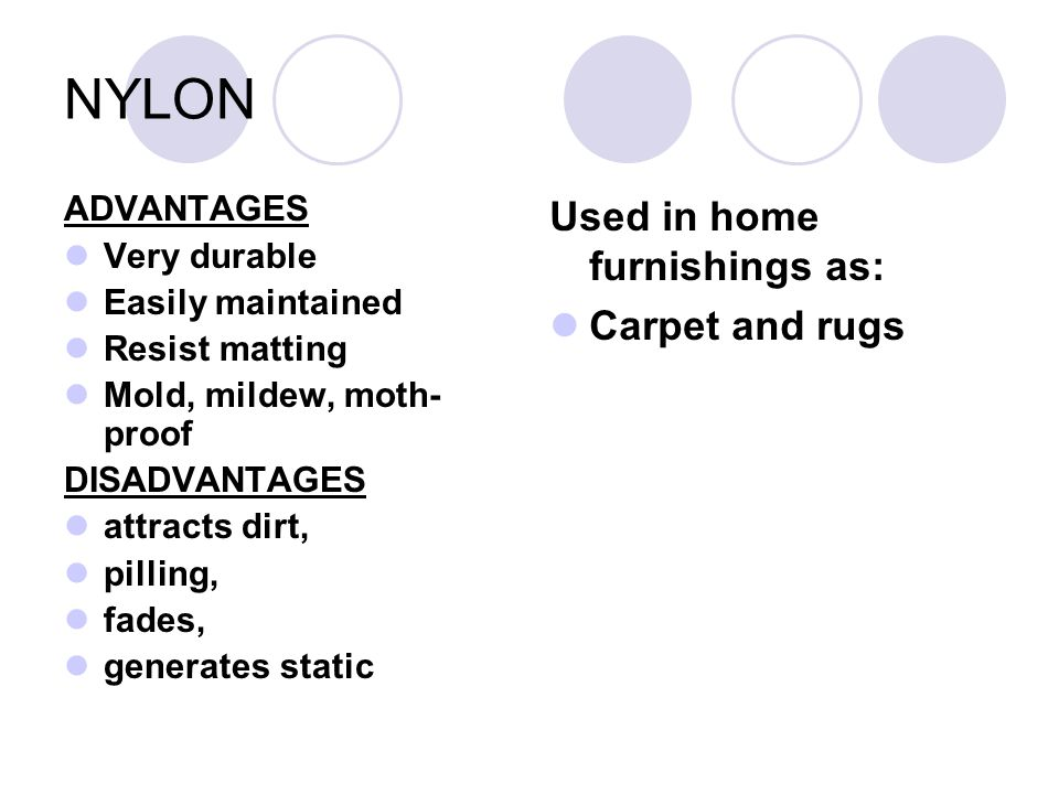 NYLON Used in home furnishings as: Carpet and rugs ADVANTAGES