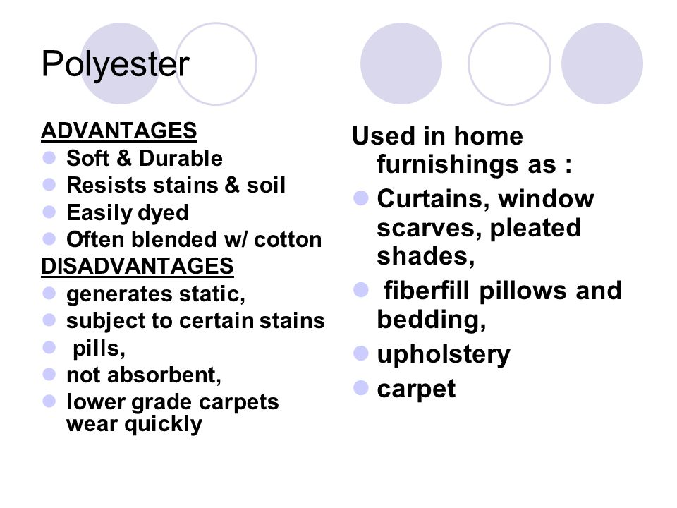 Polyester Used in home furnishings as :