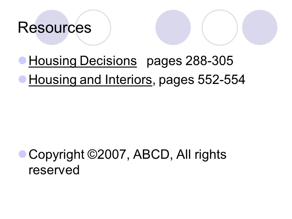 Resources Housing Decisions pages 288-305