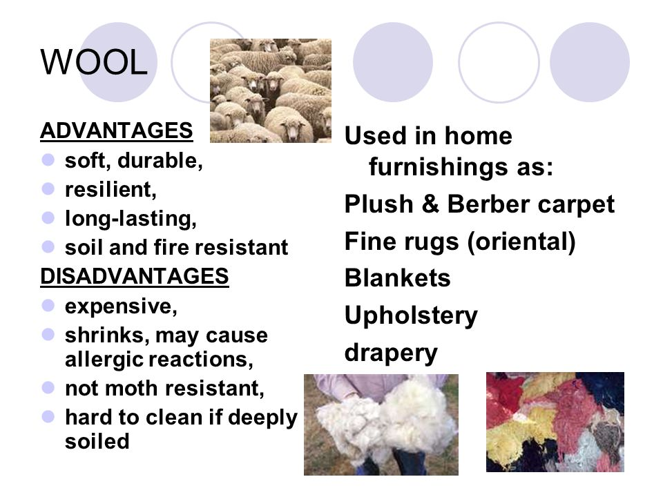WOOL Used in home furnishings as: Plush & Berber carpet