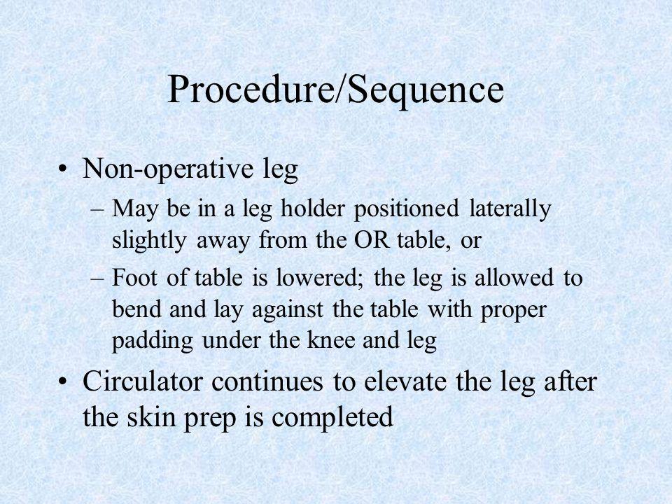 Procedure/Sequence Non-operative leg