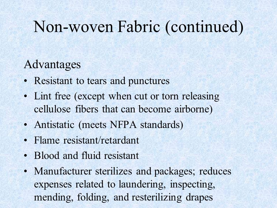 Non-woven Fabric (continued)